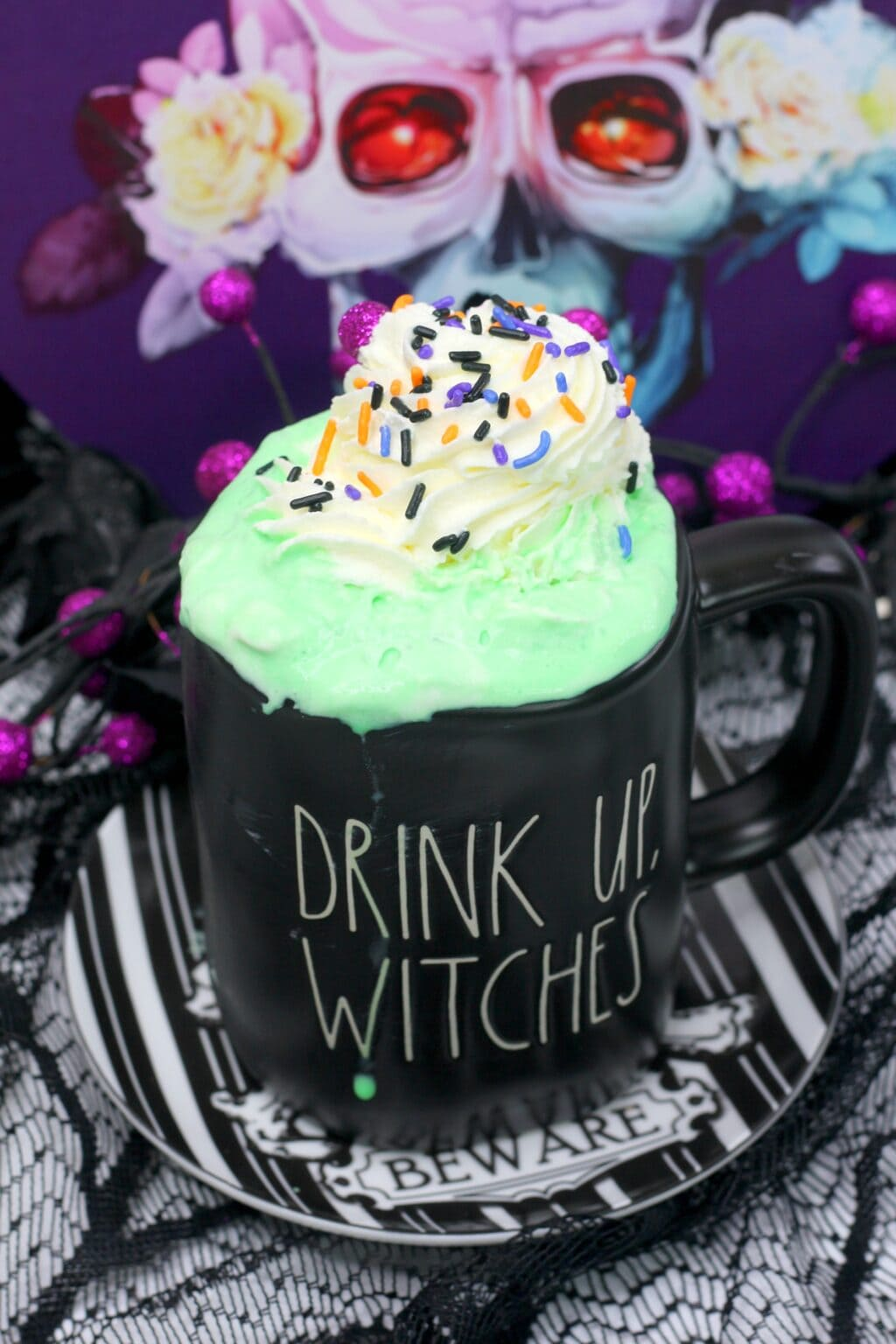 rae dunn mug with hocus pocus hot cocoa inside