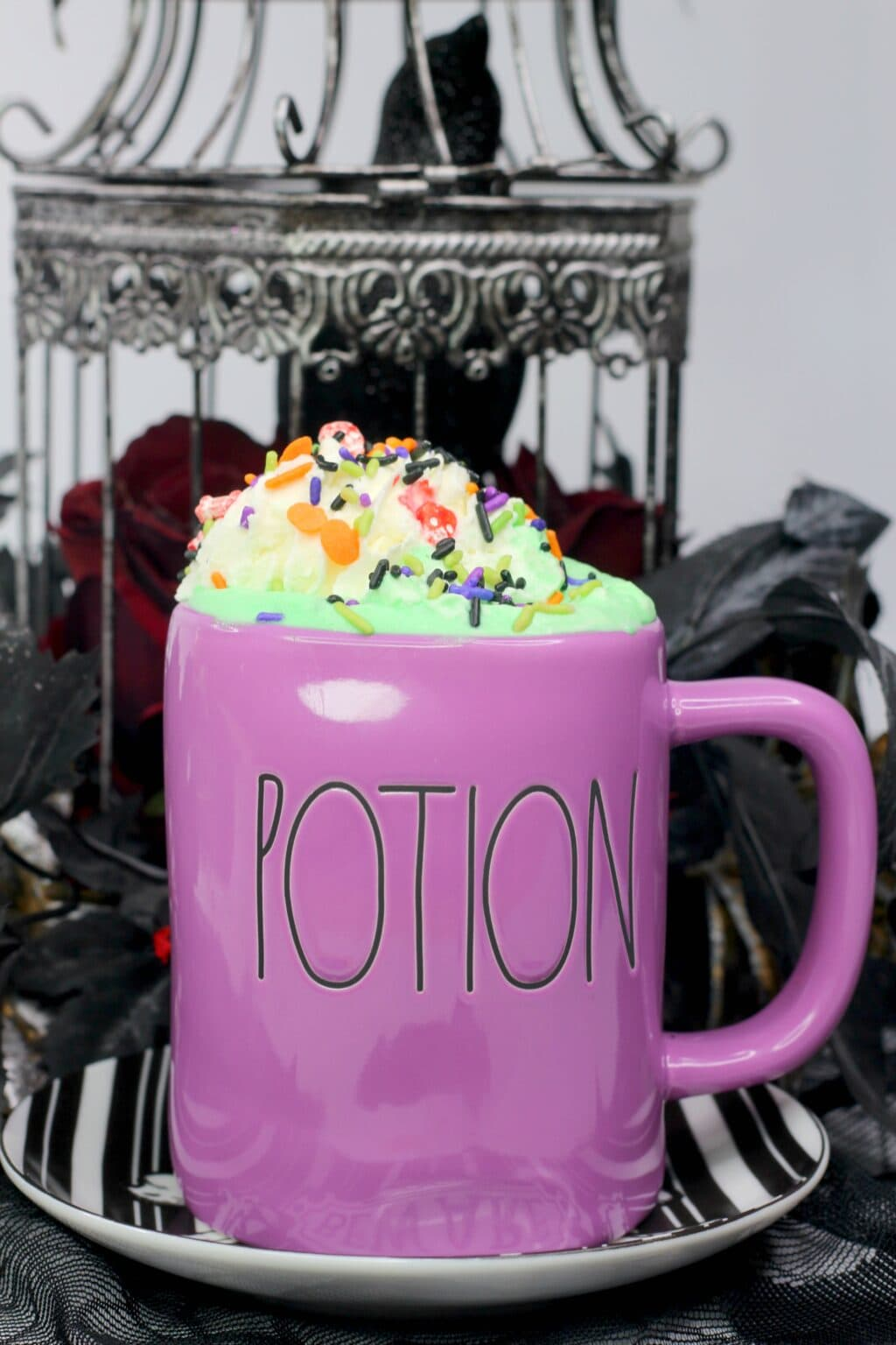 "Hocus Pocus hot cocoa in a Rae Dunn Halloween mug that says ""Potion"""
