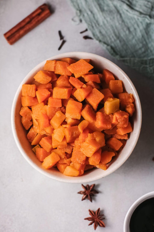cut up pumpkin in a bowl