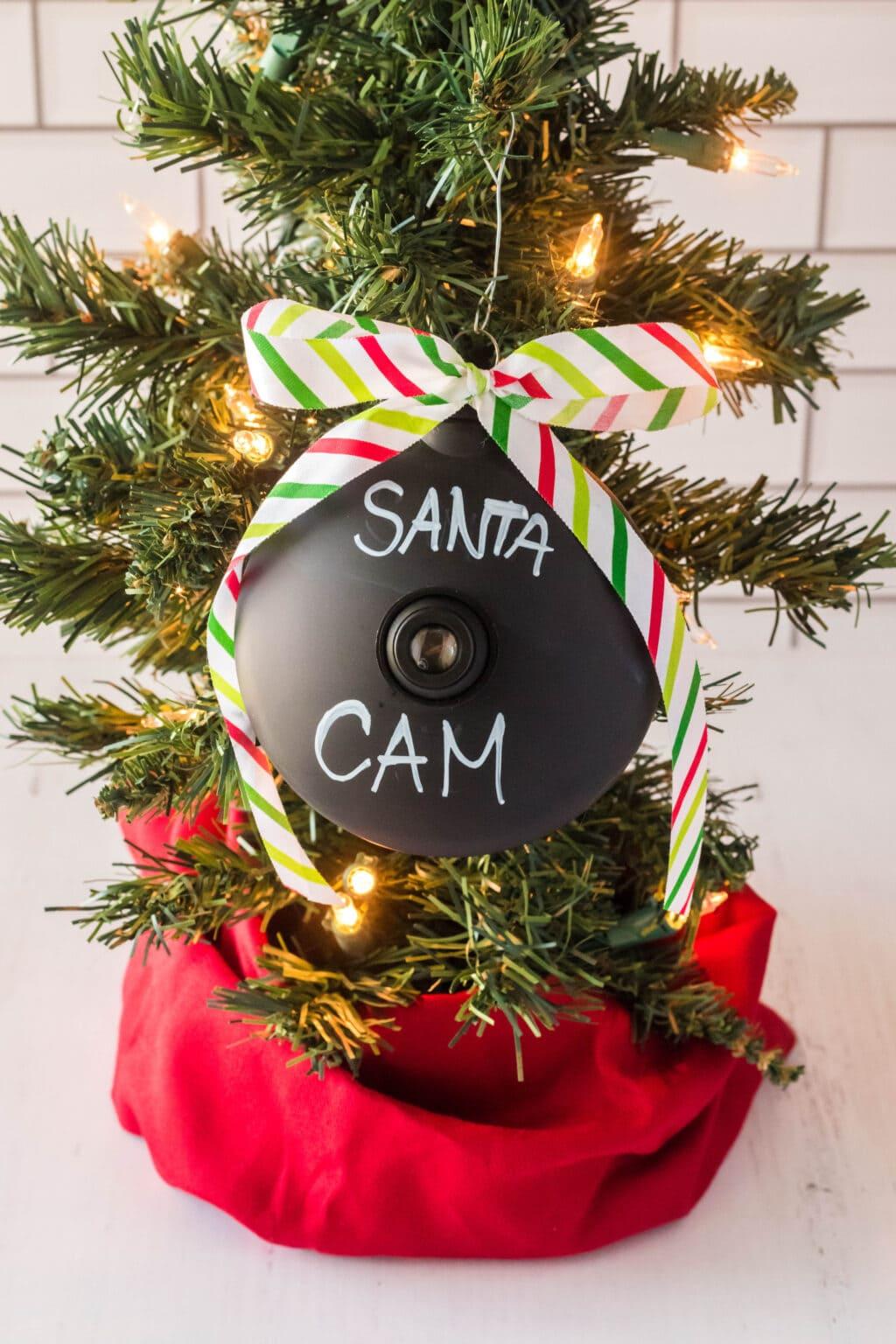 Santa cam ornament hanging on tree
