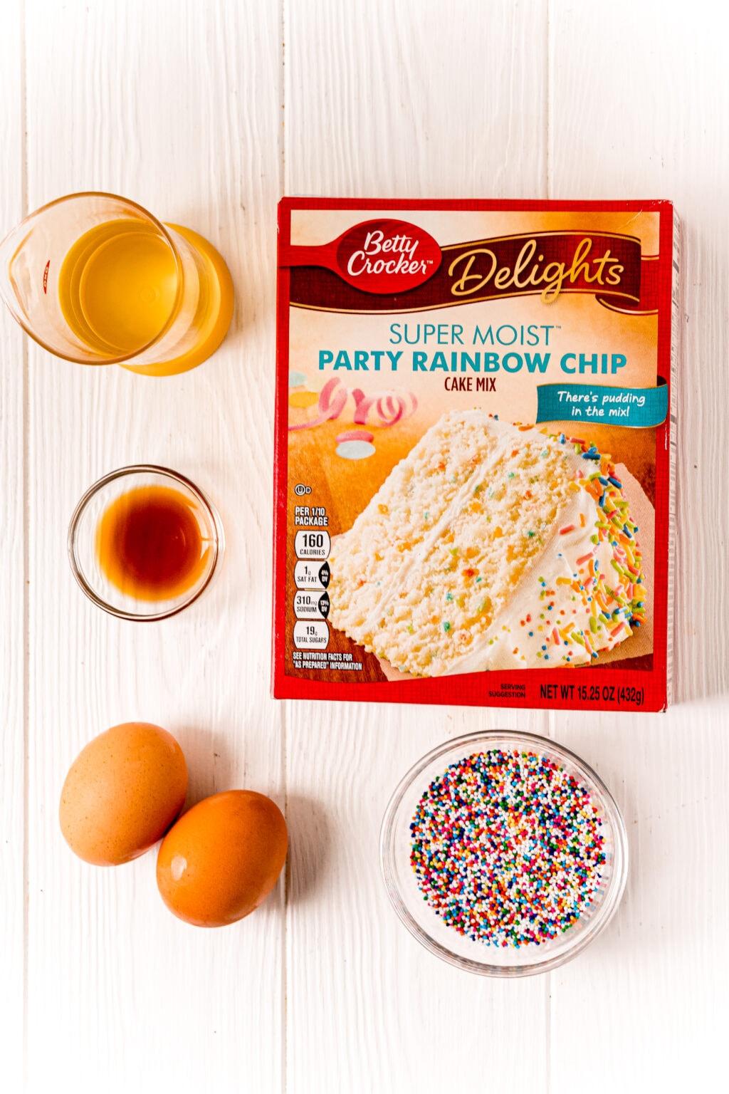 Funfetti Cake Mix Cookies ingredients