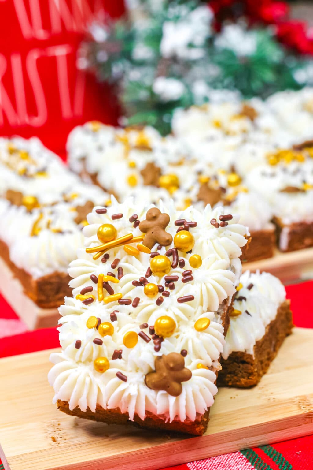 gingerbread cookie bars stacked