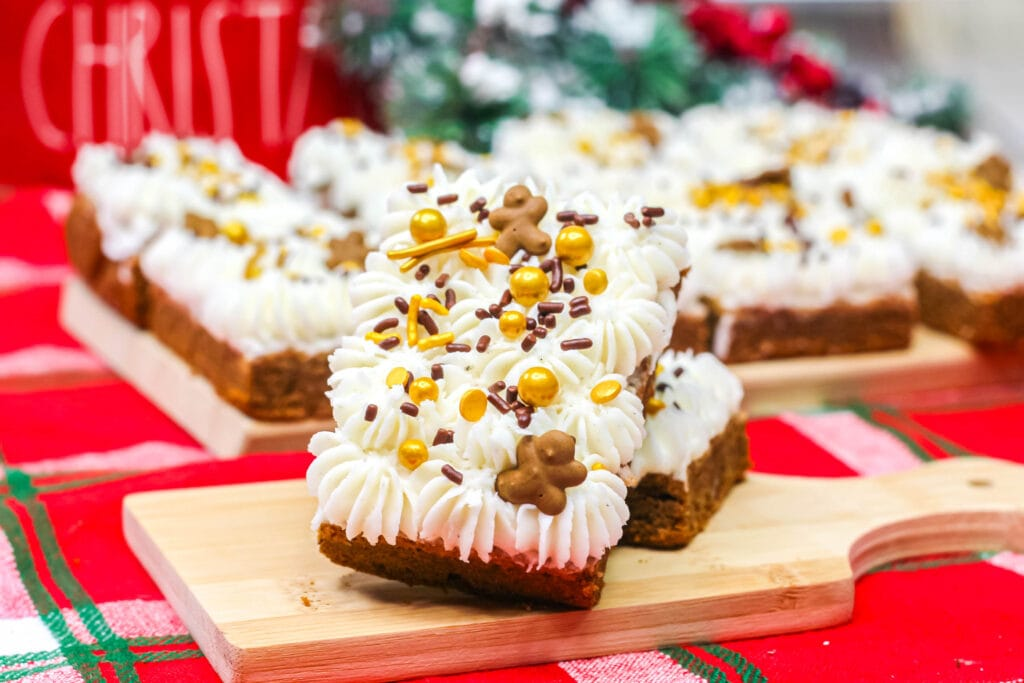 gingerbread cookie bars on a cutting board