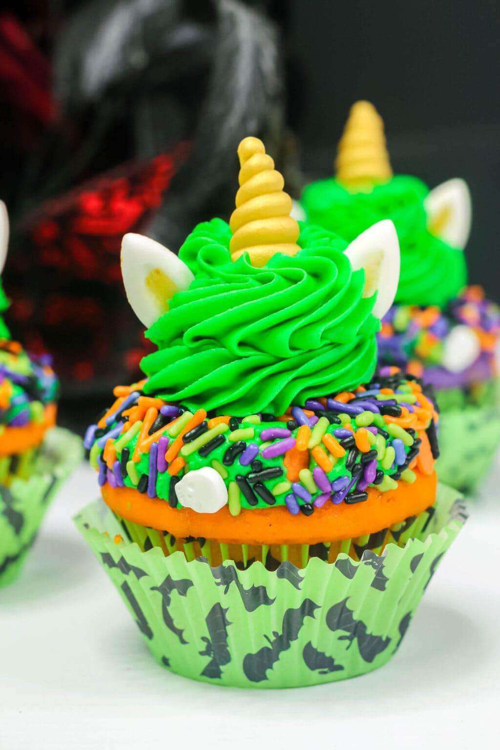 halloween unicorn cupcake upclose