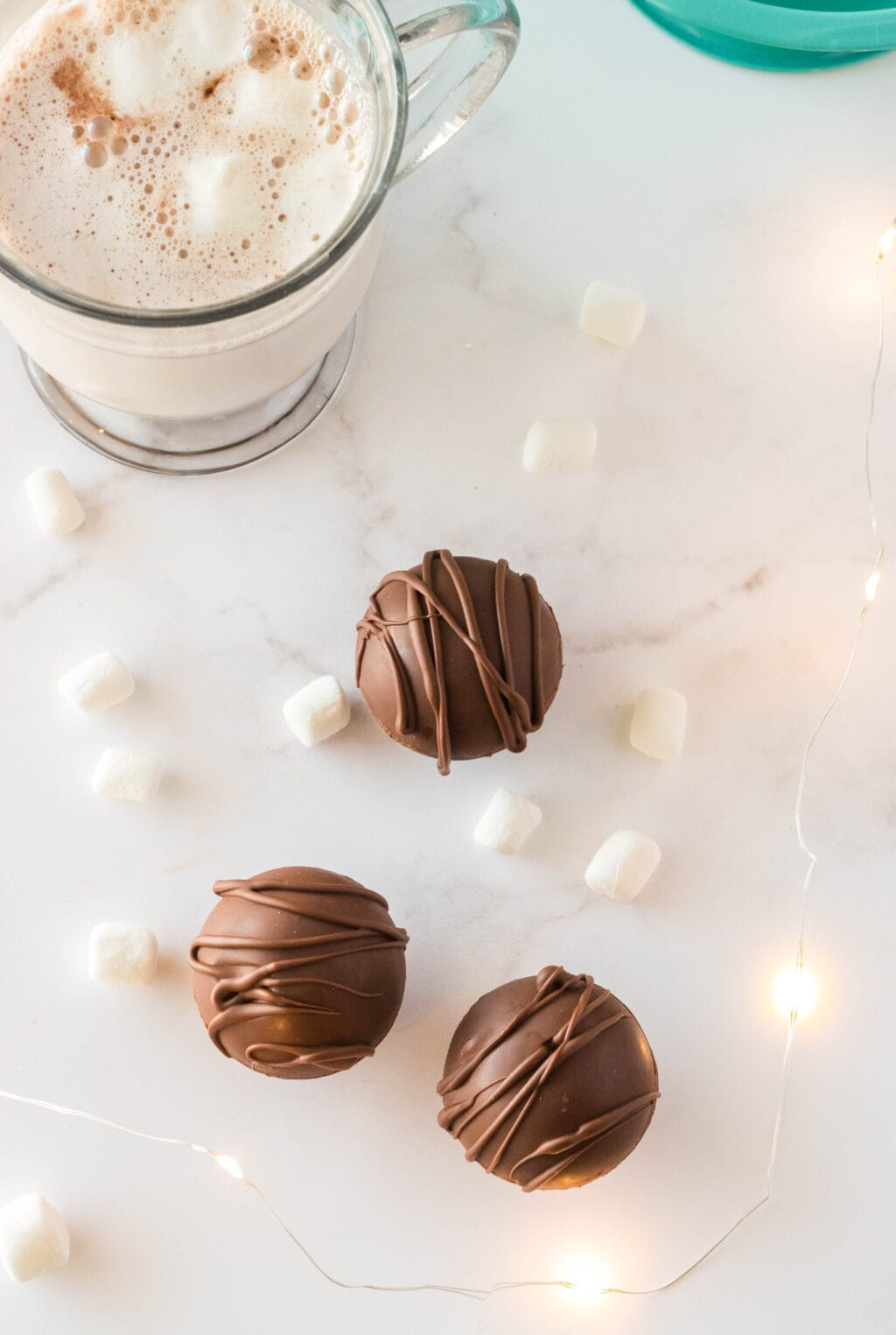 hot cocoa bombs on table