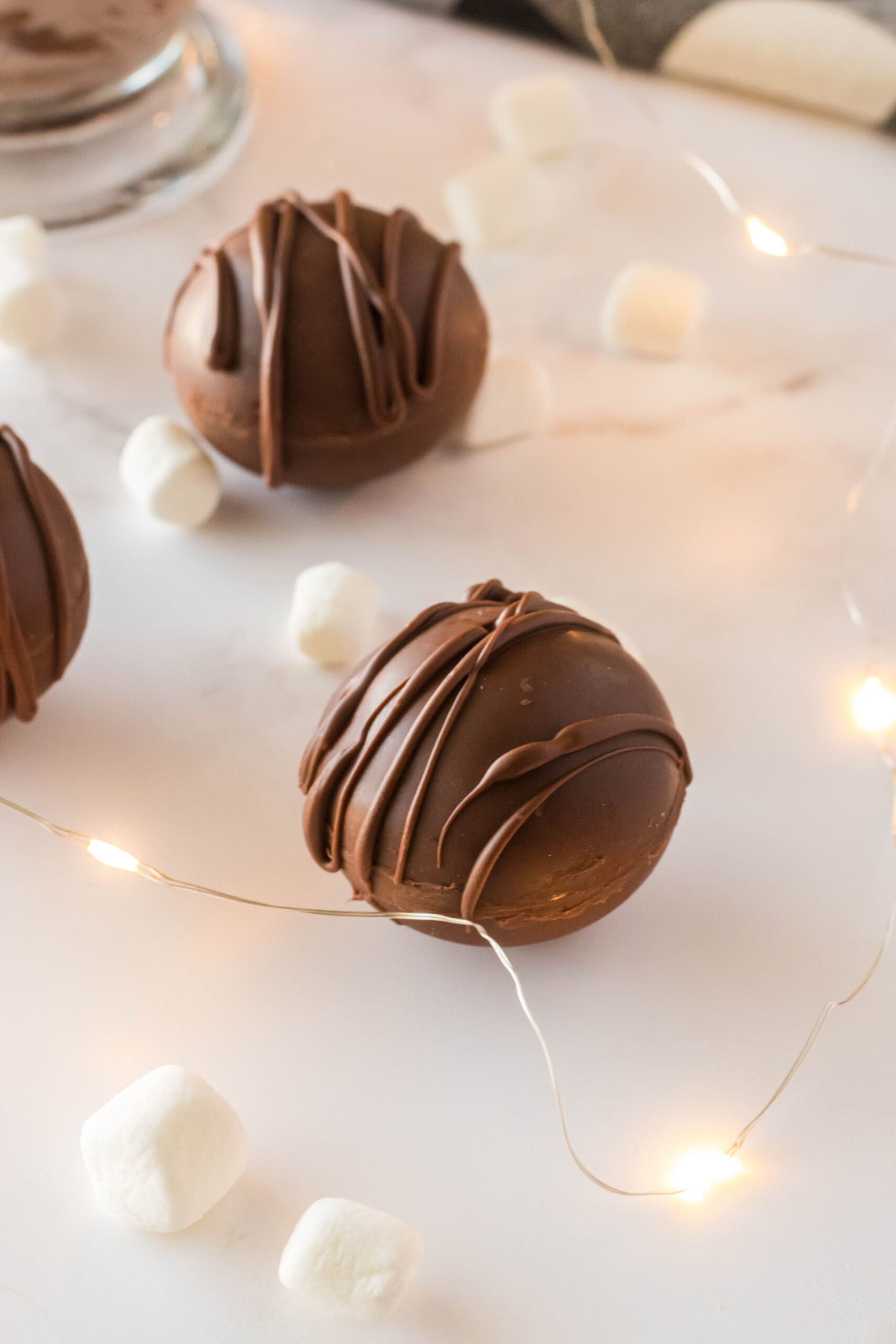 hot cocoa bombs on a table