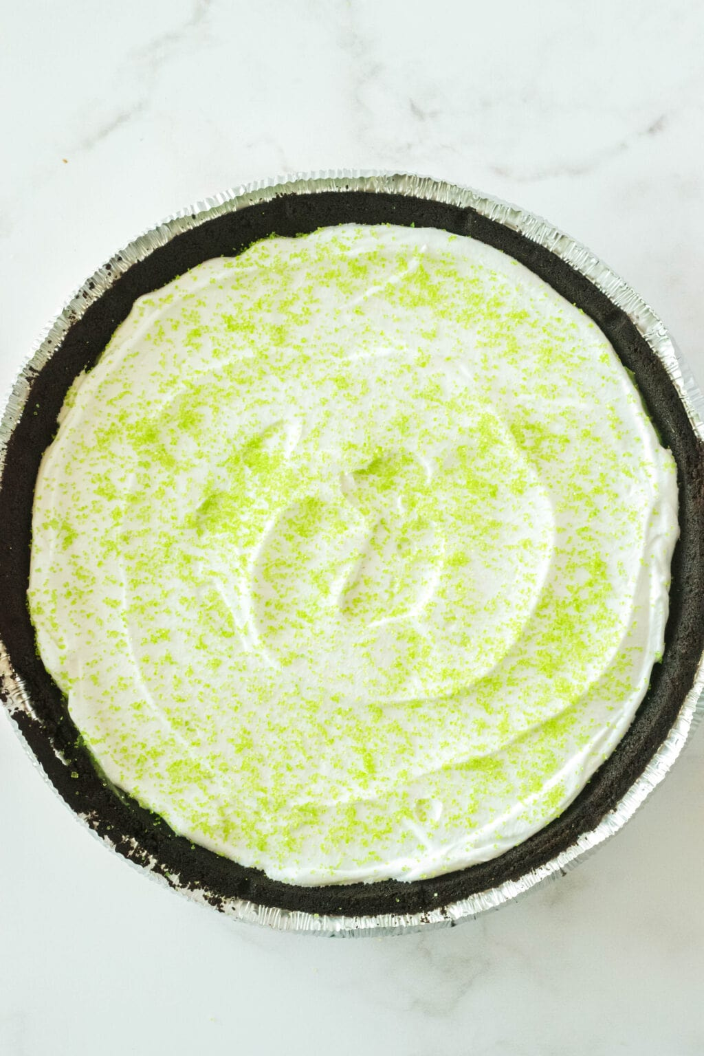 green sprinkles on top of cool whip