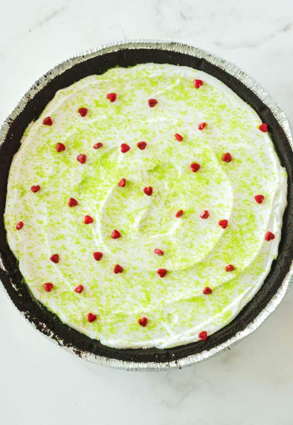 red heart sprinkles on pie