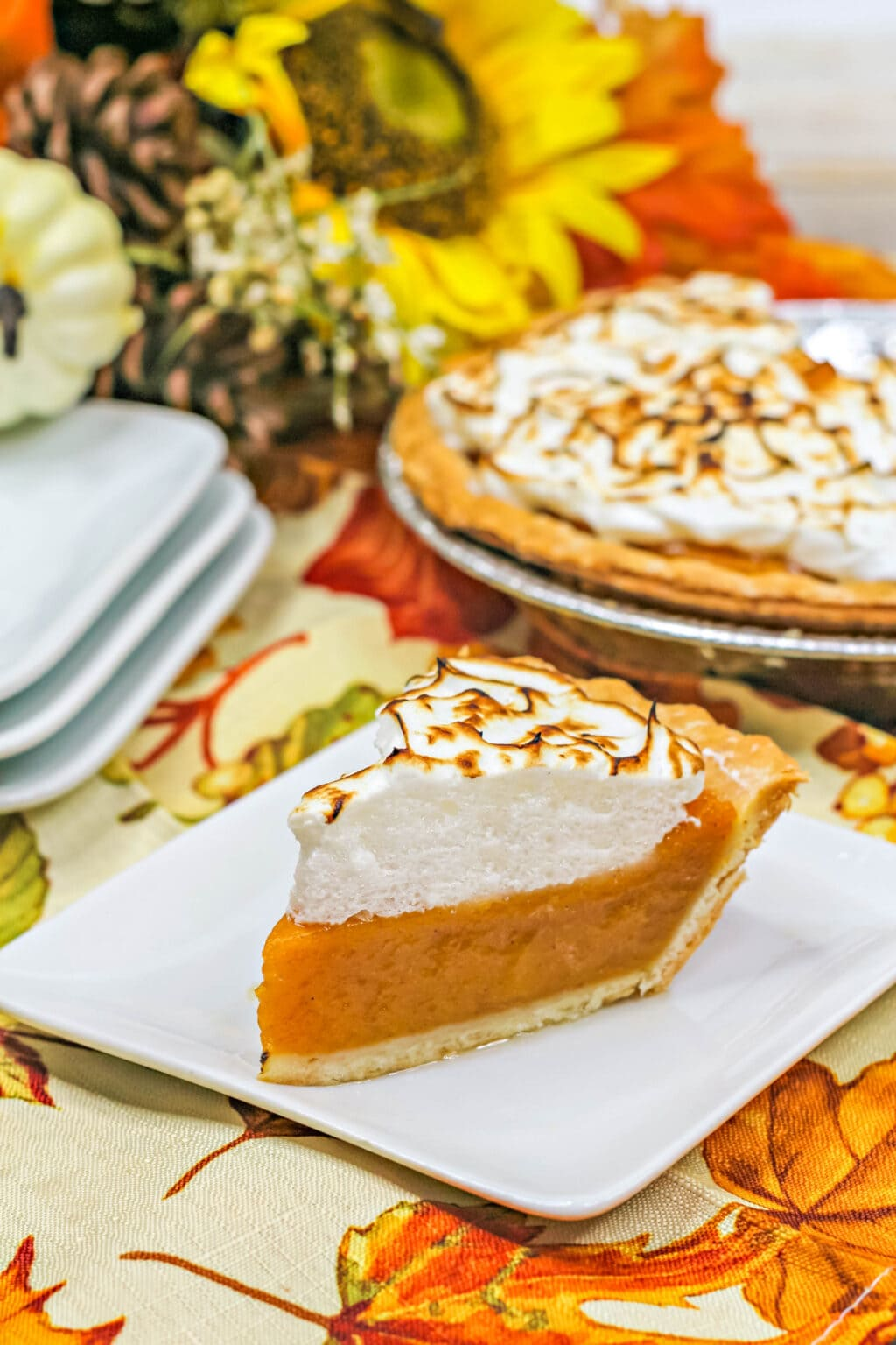 slice of sweet potato pie with marshmallow meringue topping
