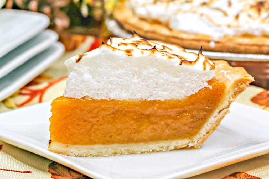 upclose slice of sweet potato pie on plate