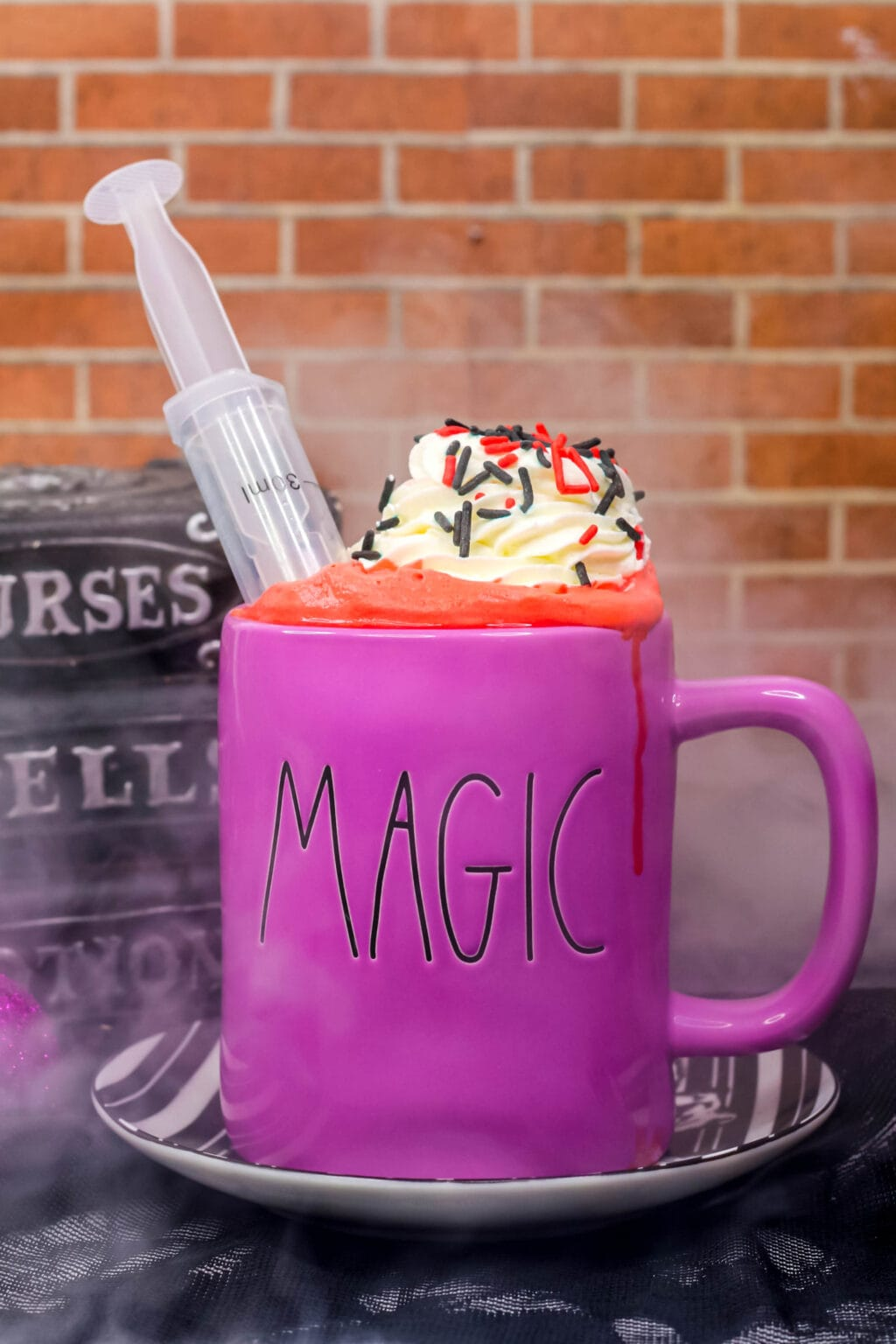 vampire blood hot cocoa in a purple mug