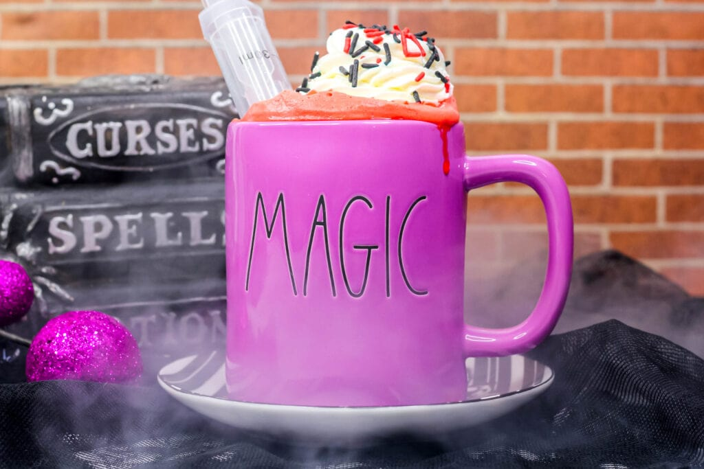 vampire hot cocoa in a mug
