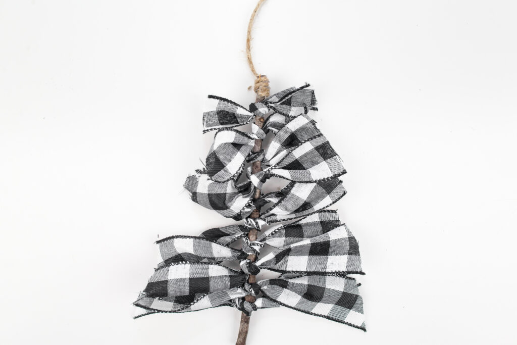 top of twine wrapped around Buffalo Plaid Ribbon Tree Ornament