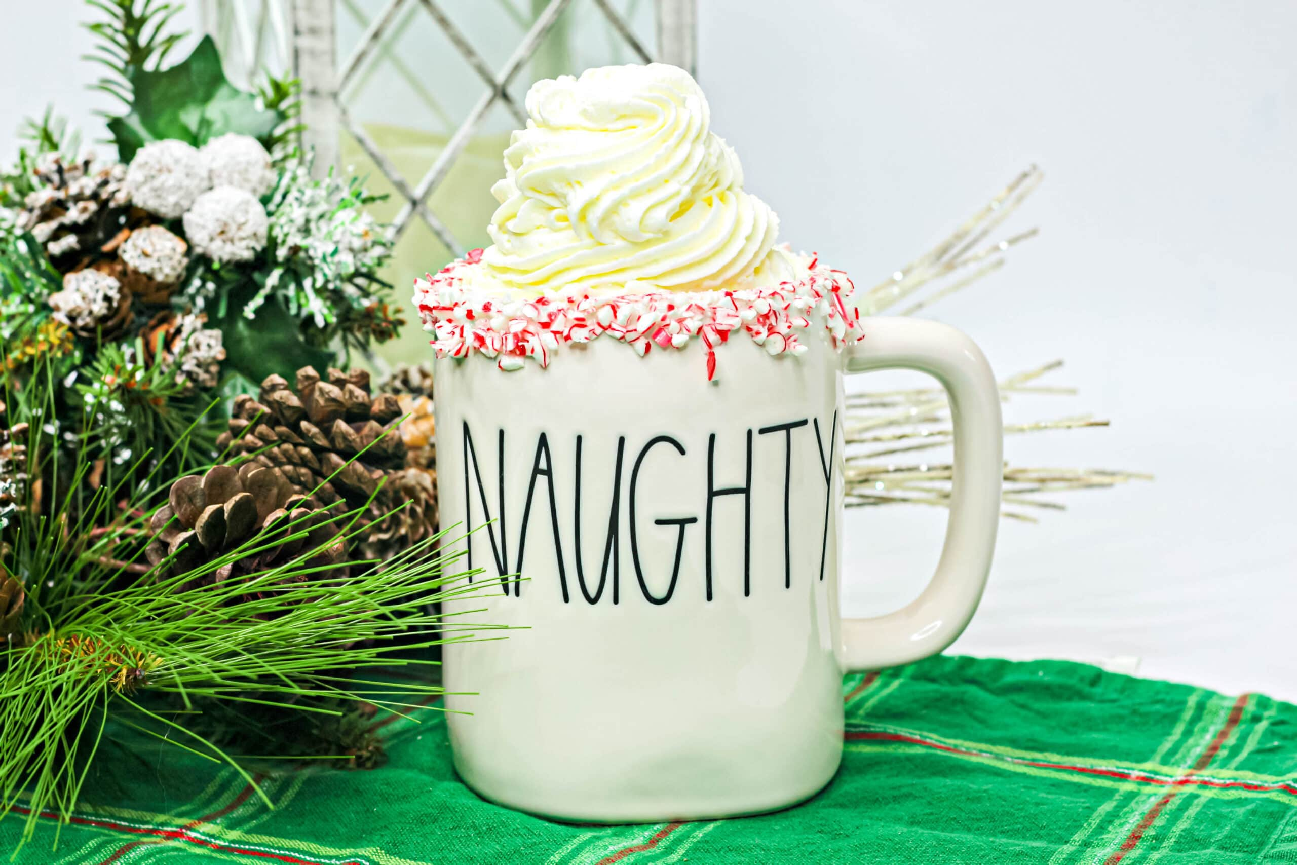 boozy peppermint hot cocoa in a mug with whipped cream