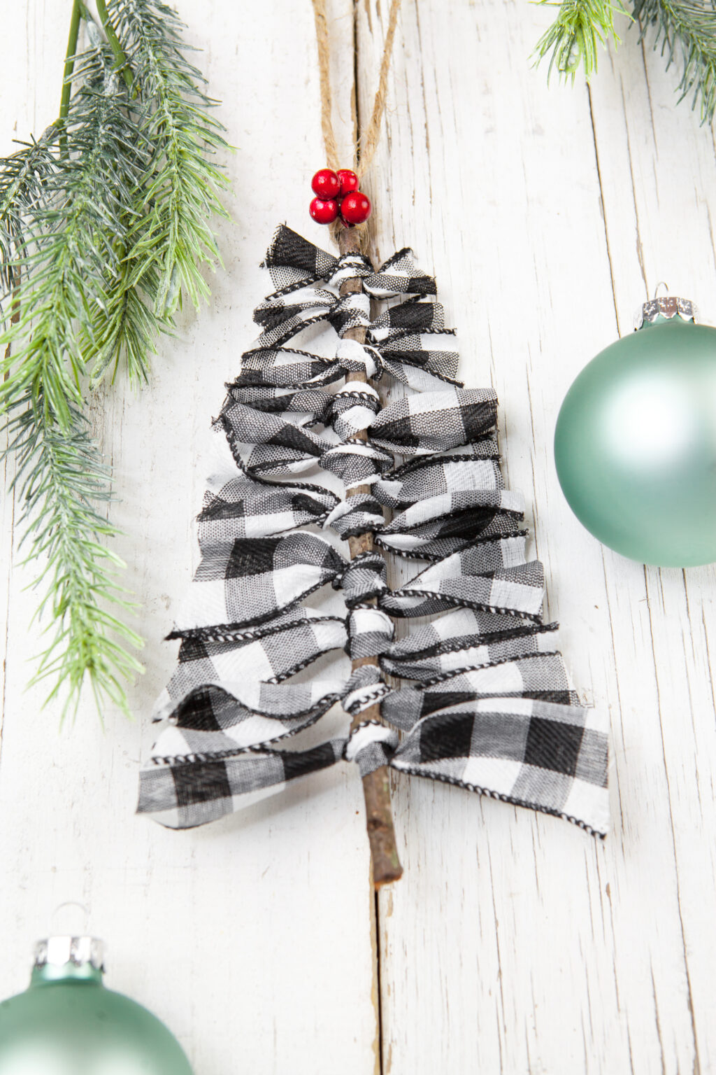 Buffalo Plaid Ribbon Tree Ornament