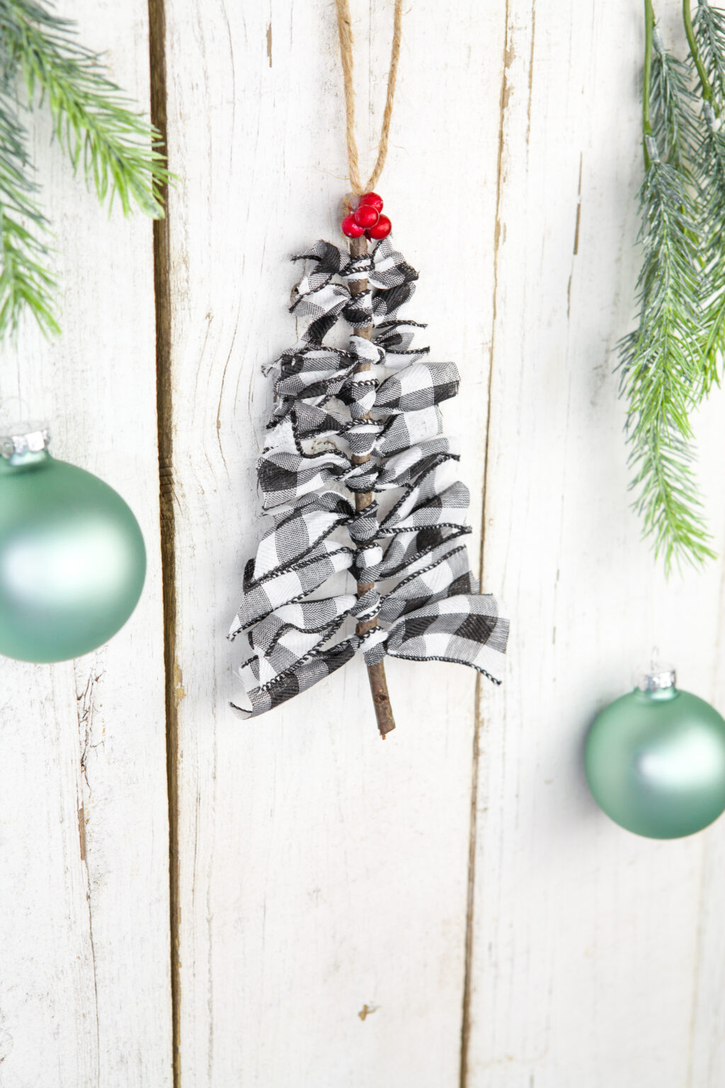 Buffalo Plaid Ribbon Tree Ornament hanging