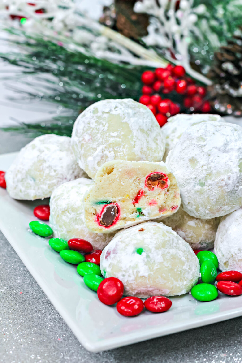 christmas snowball cookies with Christmas m&m's inside