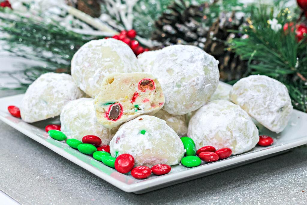 christmas snowball cookies on plate