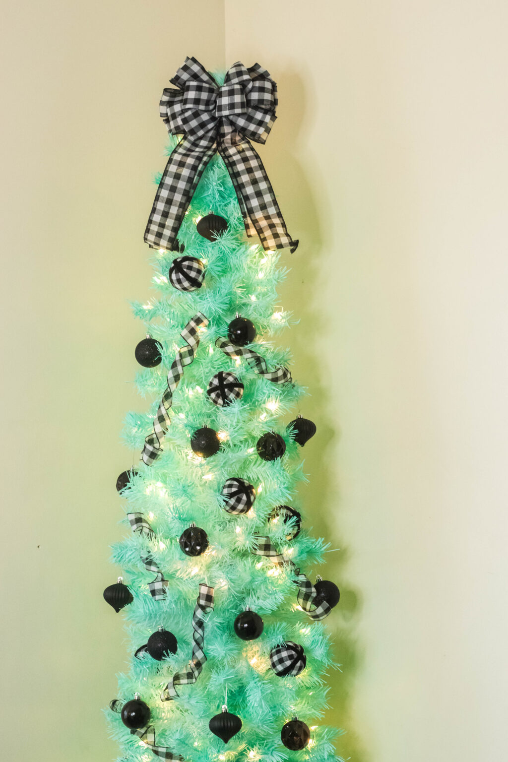 mint christmas tree with buffalo plaid