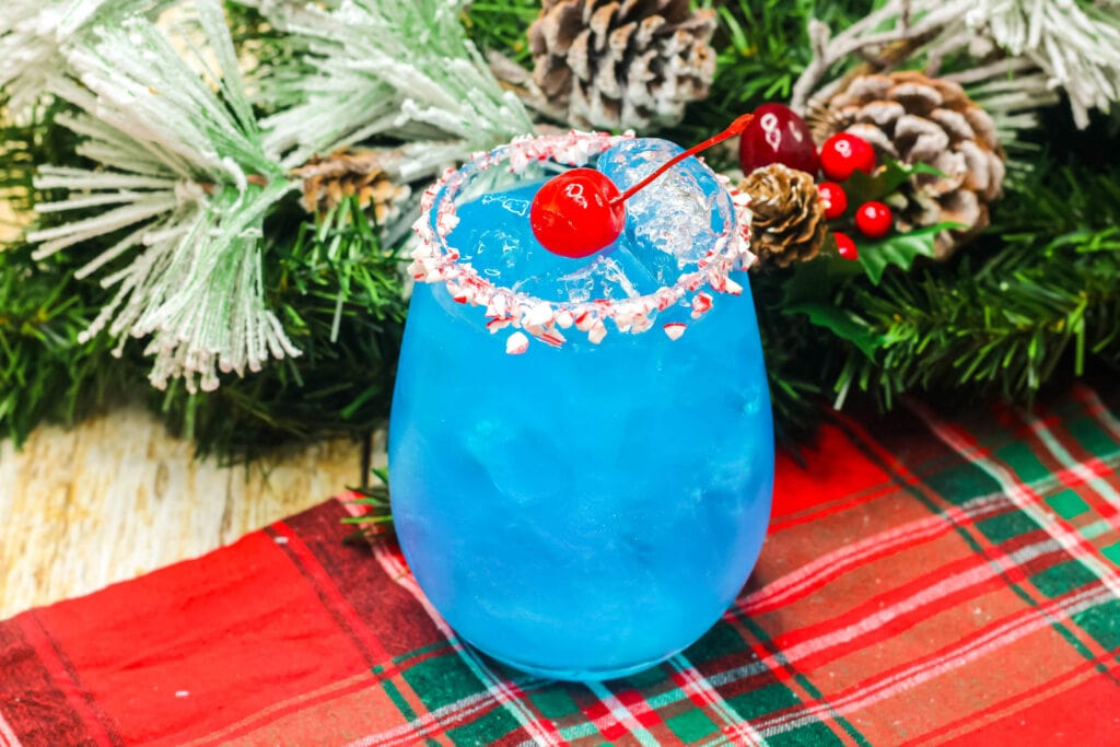 frosty the snowman cocktail in a glass
