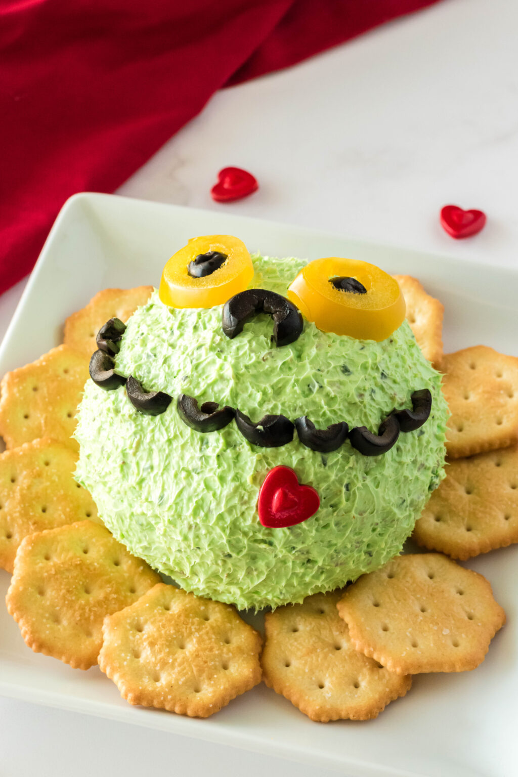 grinch cheese ball on plate