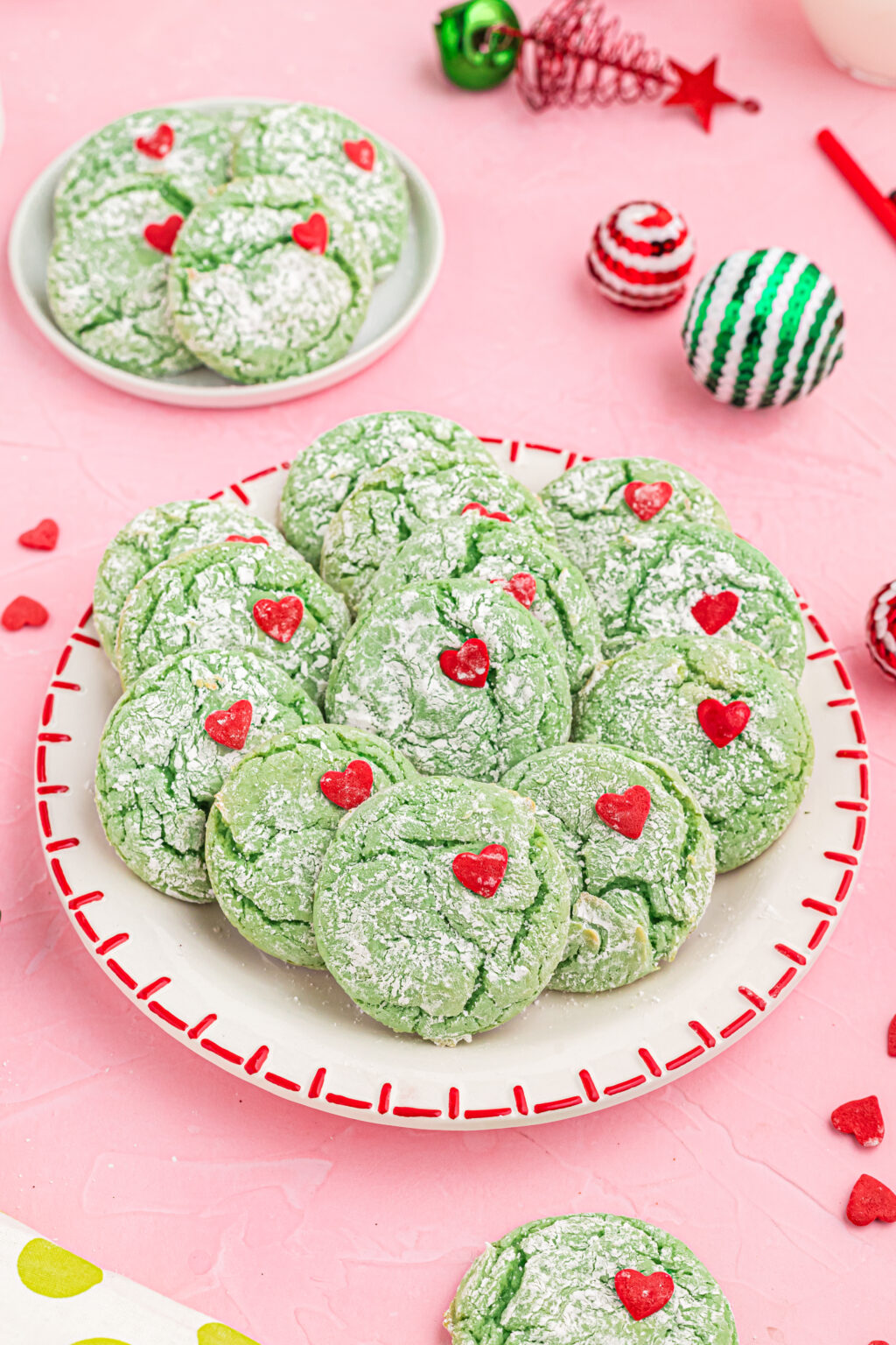 grinch cookies on plate