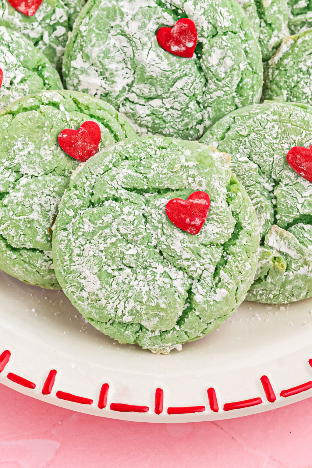 upclose of grinch cookies on plate