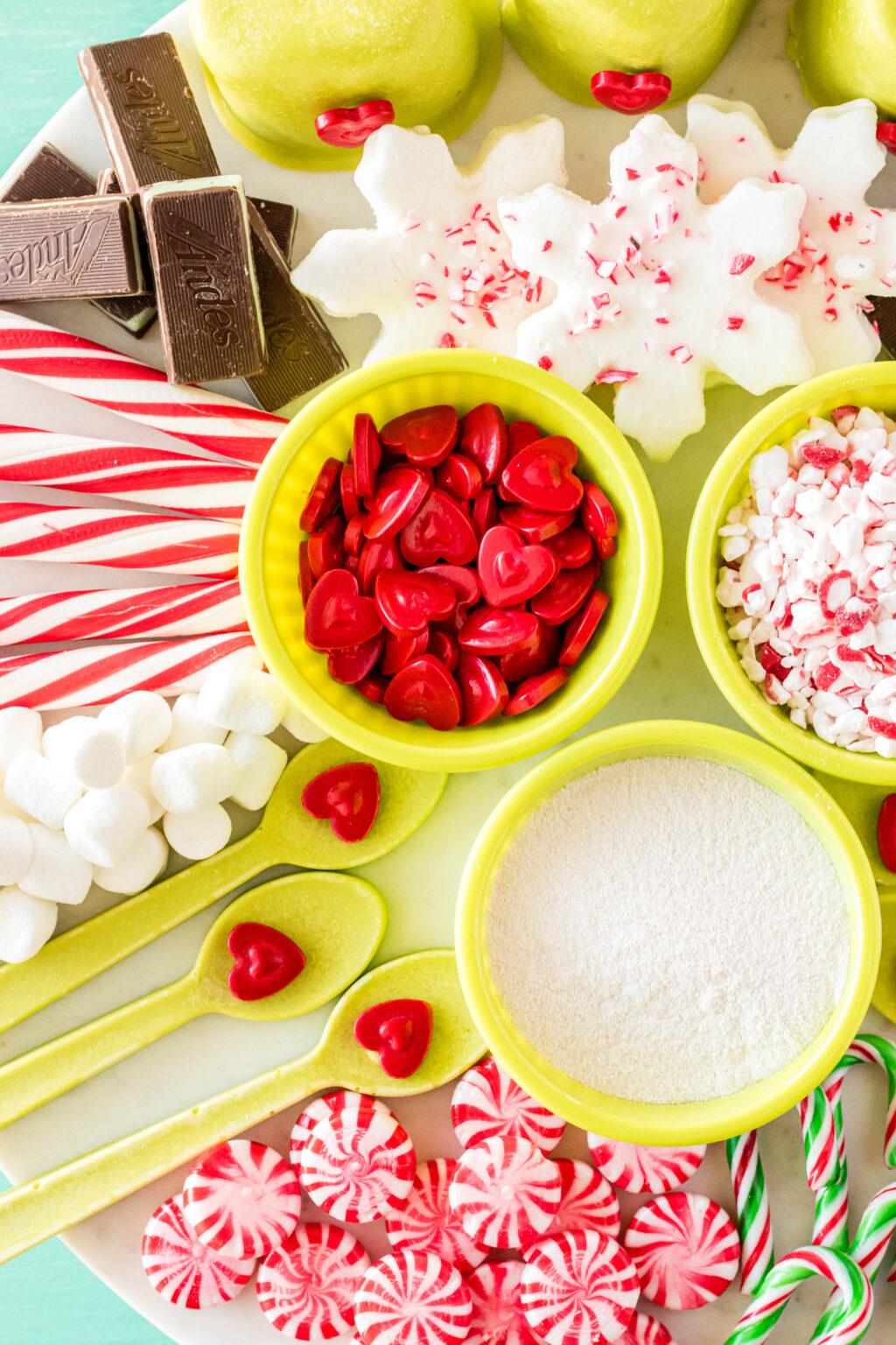 desserts on hot cocoa board