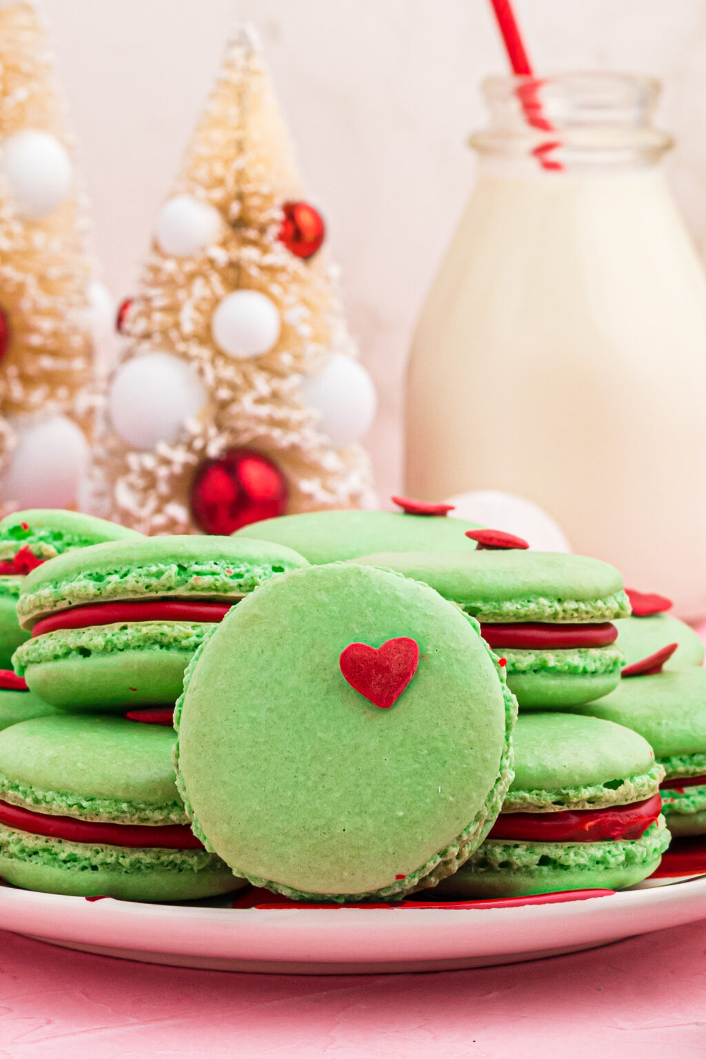 grinch macarons on plate
