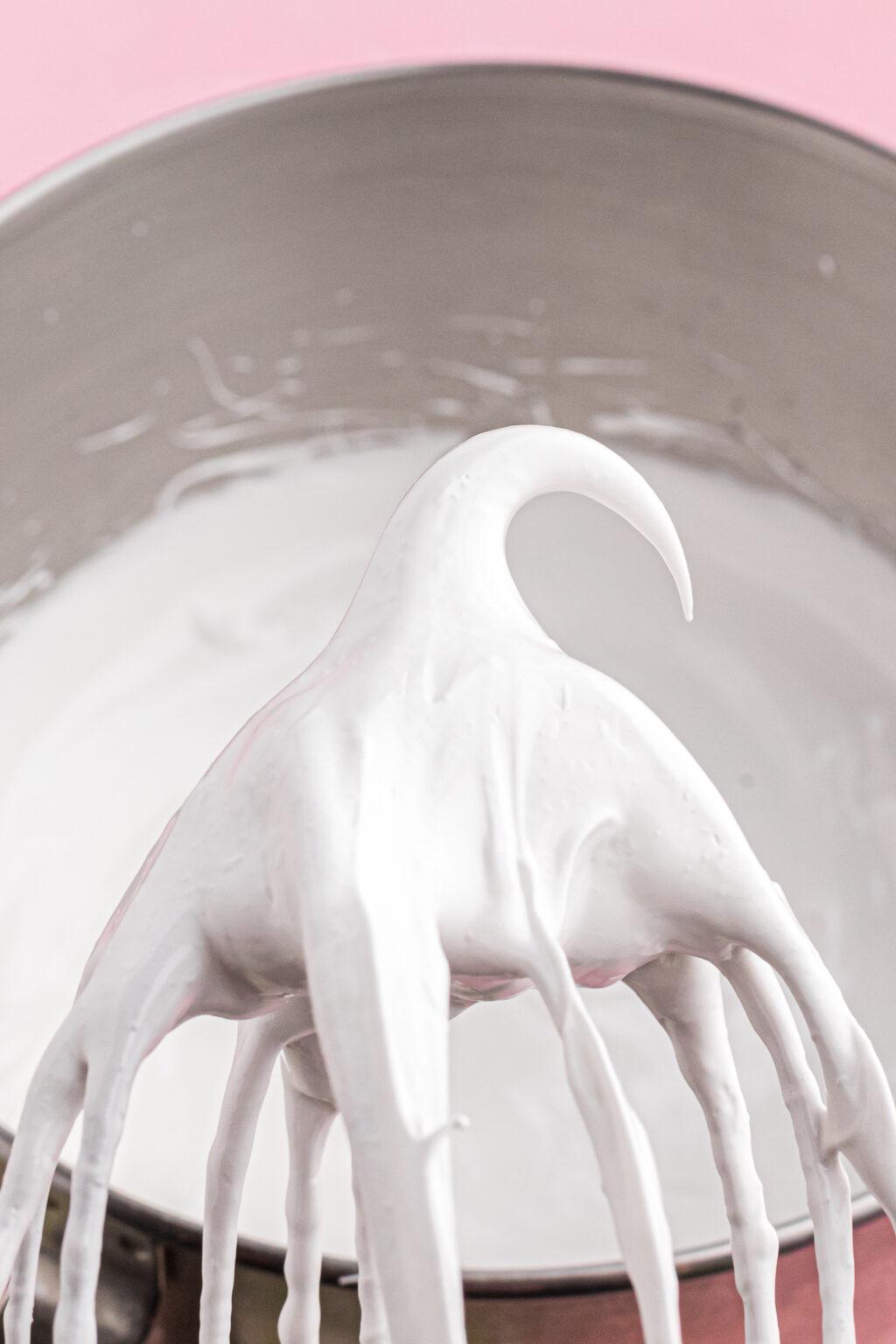 white meringues mixture in bowl