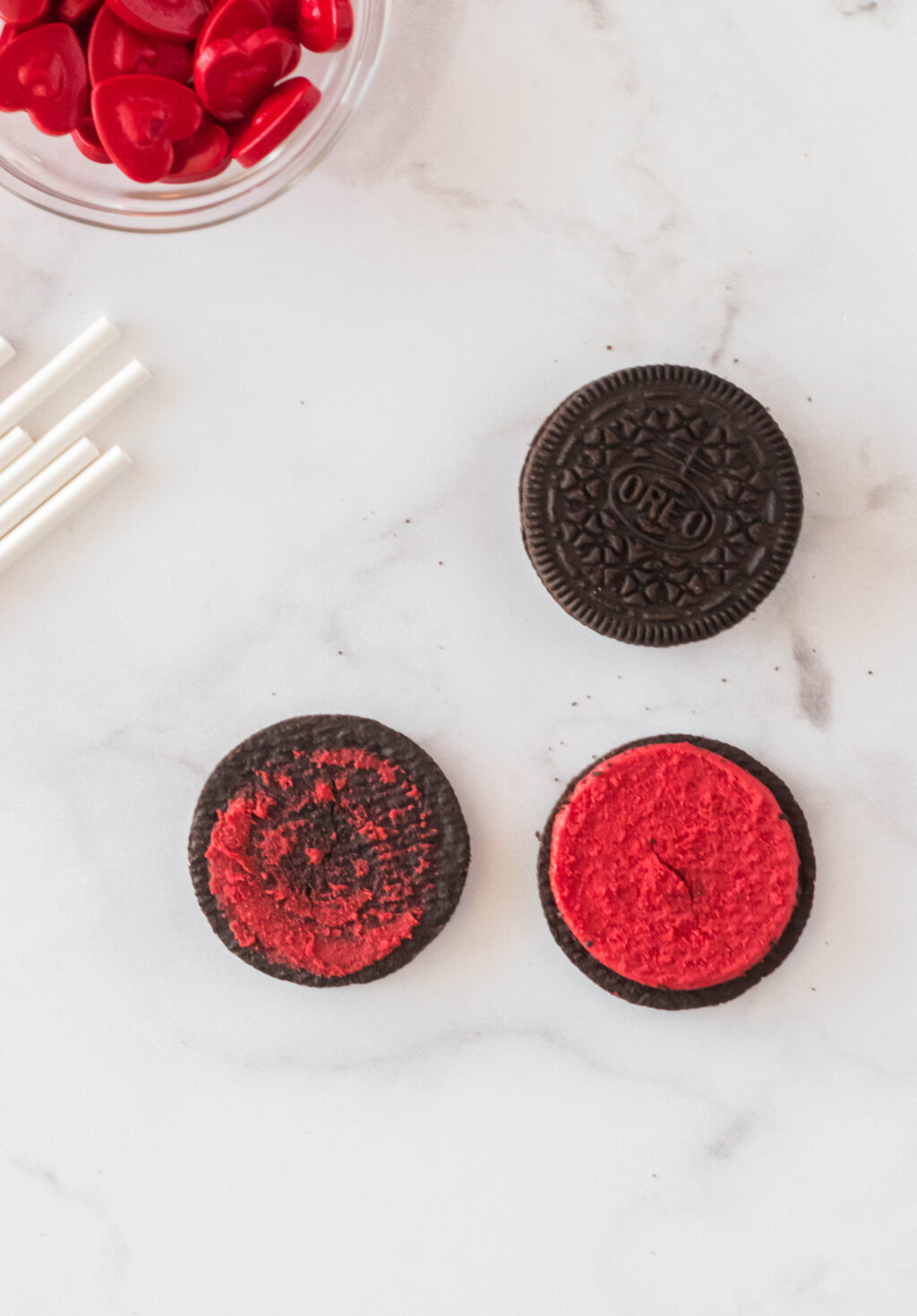 red oreos separated in half
