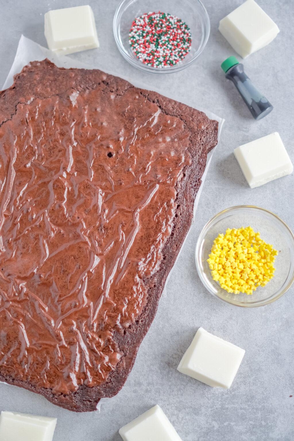 large brownie on table