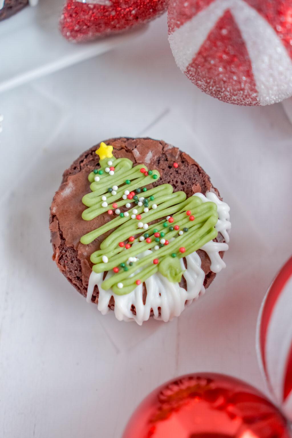 christmas tree brownies on table