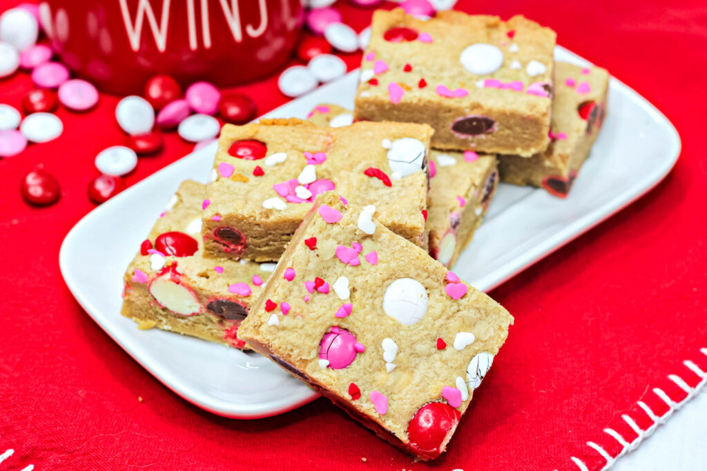 valentine cookie bars on a plate