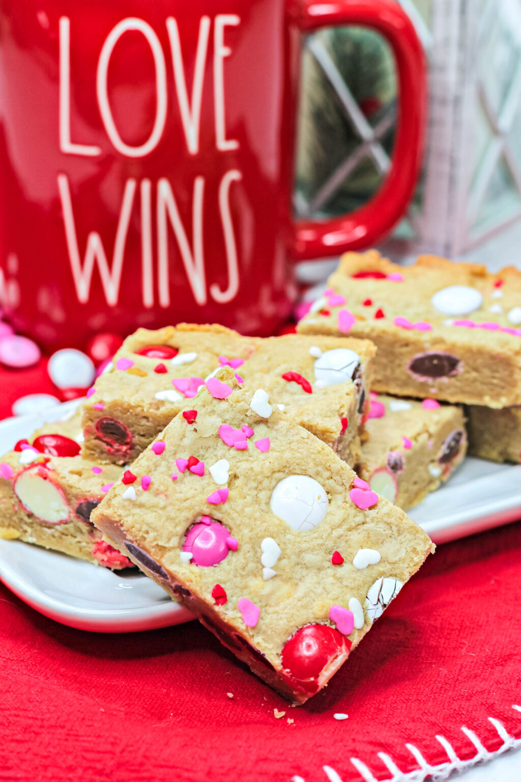 valentine sugar cookie bars on a plate