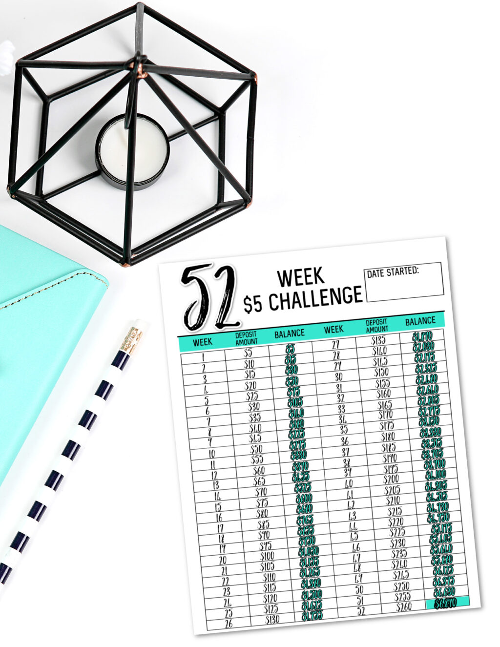 52 week $5 challenge