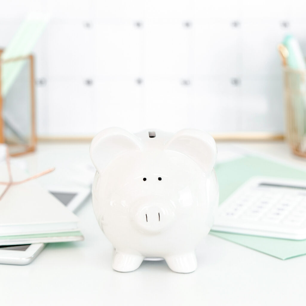 piggy bank on a desk
