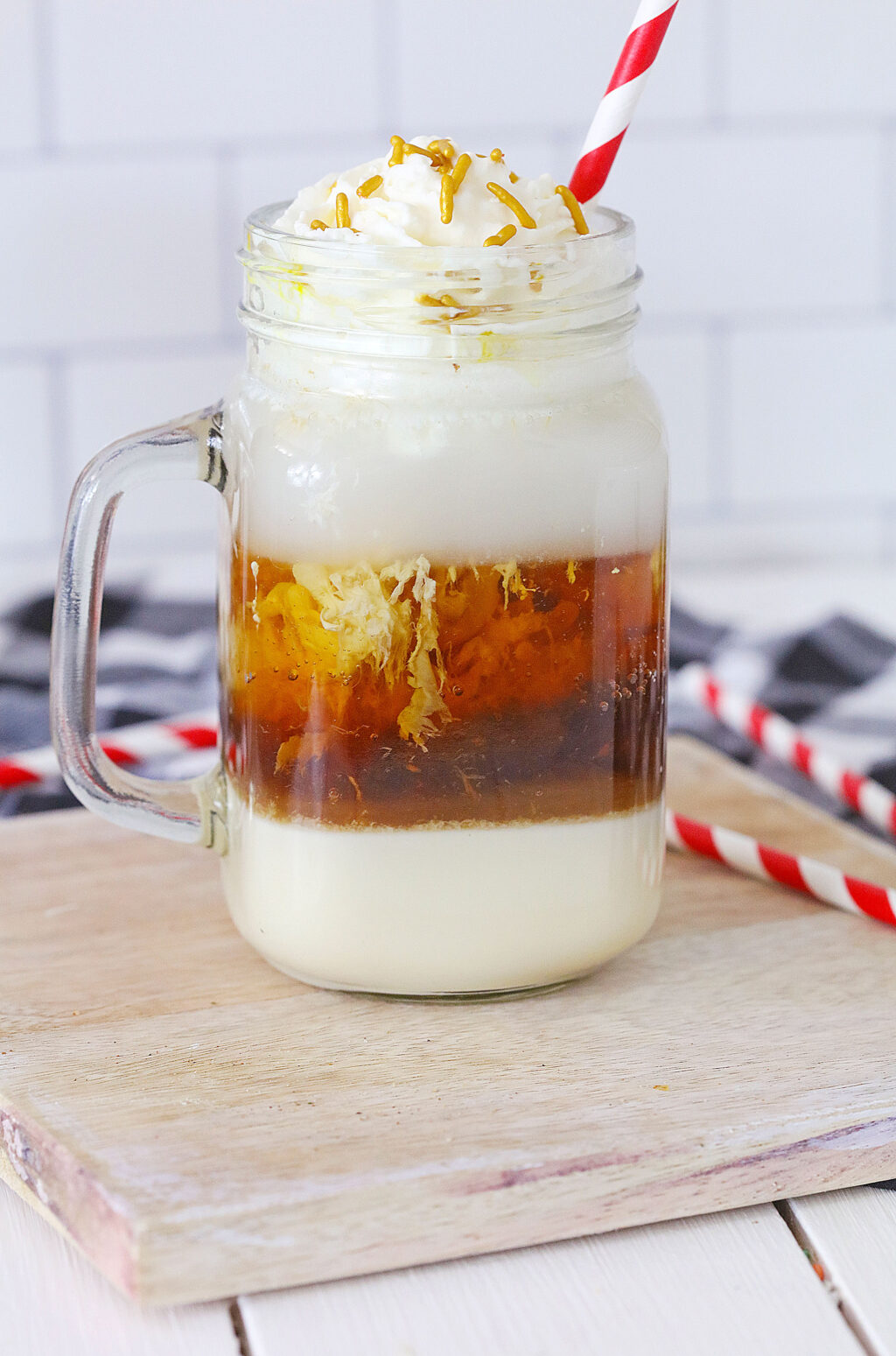 root beer float cocktail in a glass