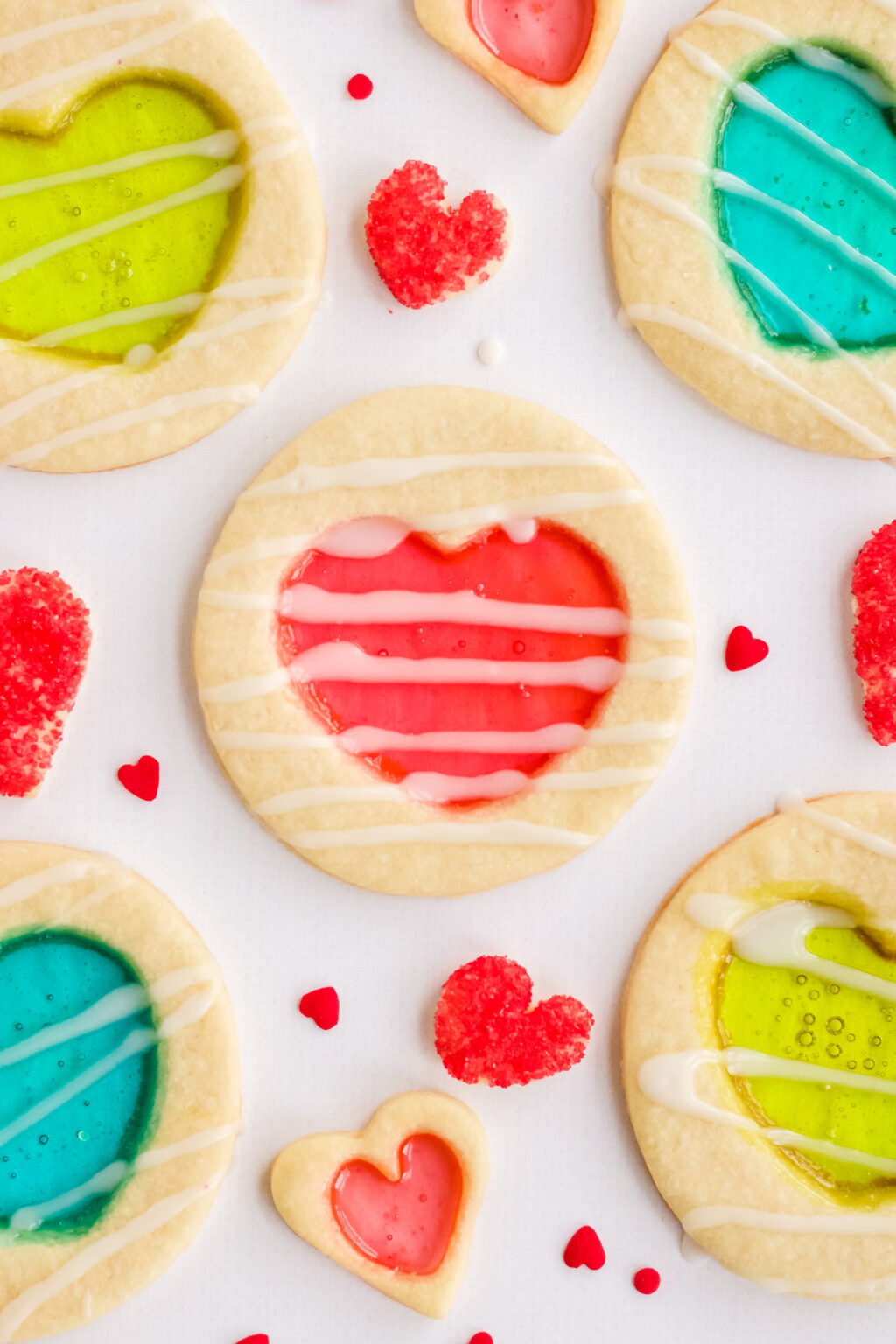 stained glass cookies on a white table