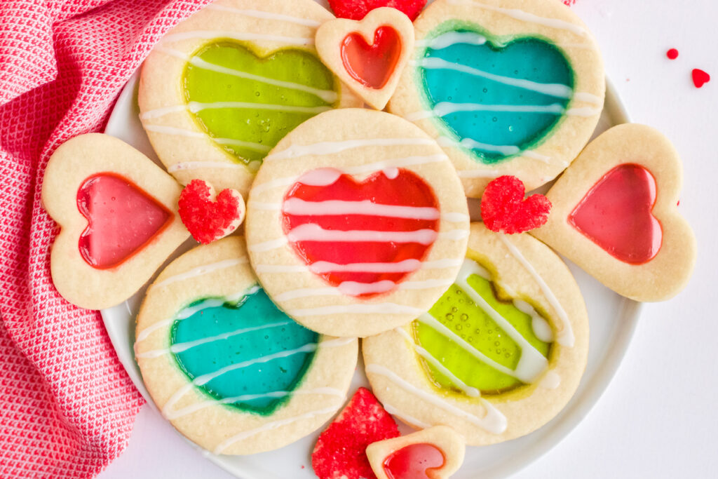 stained glass cookies on a plate