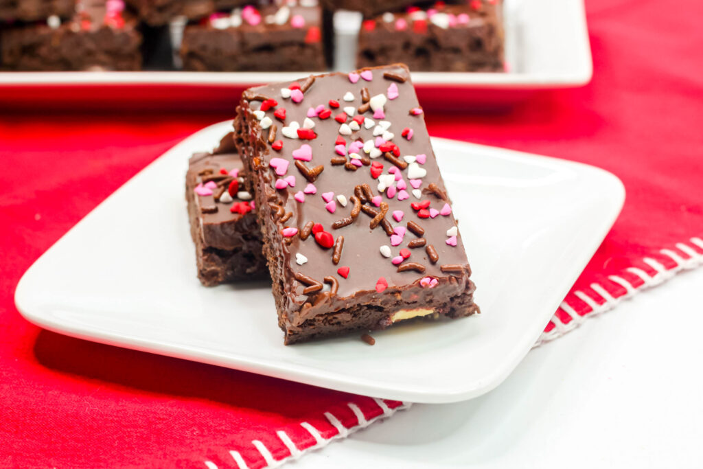Valentine's Day Brownies on a plate