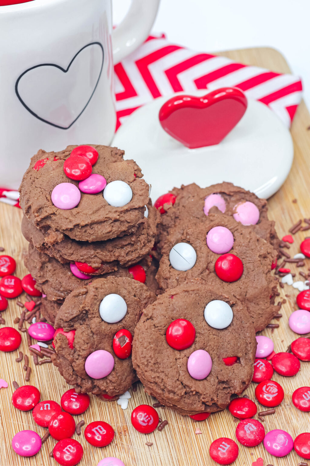 chocolate valentine cookies on a table