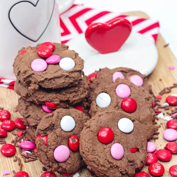 Valentine's Day Chocolate M&M's Cookies