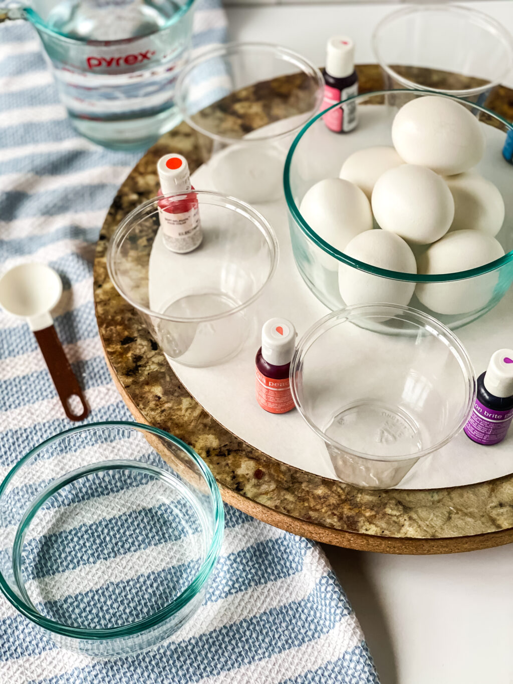 easter egg dying ingredients on table