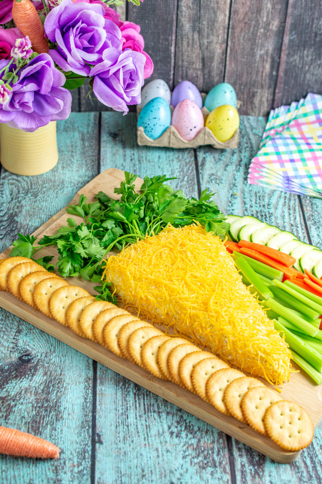 easter carrot cheese ball on serving tray