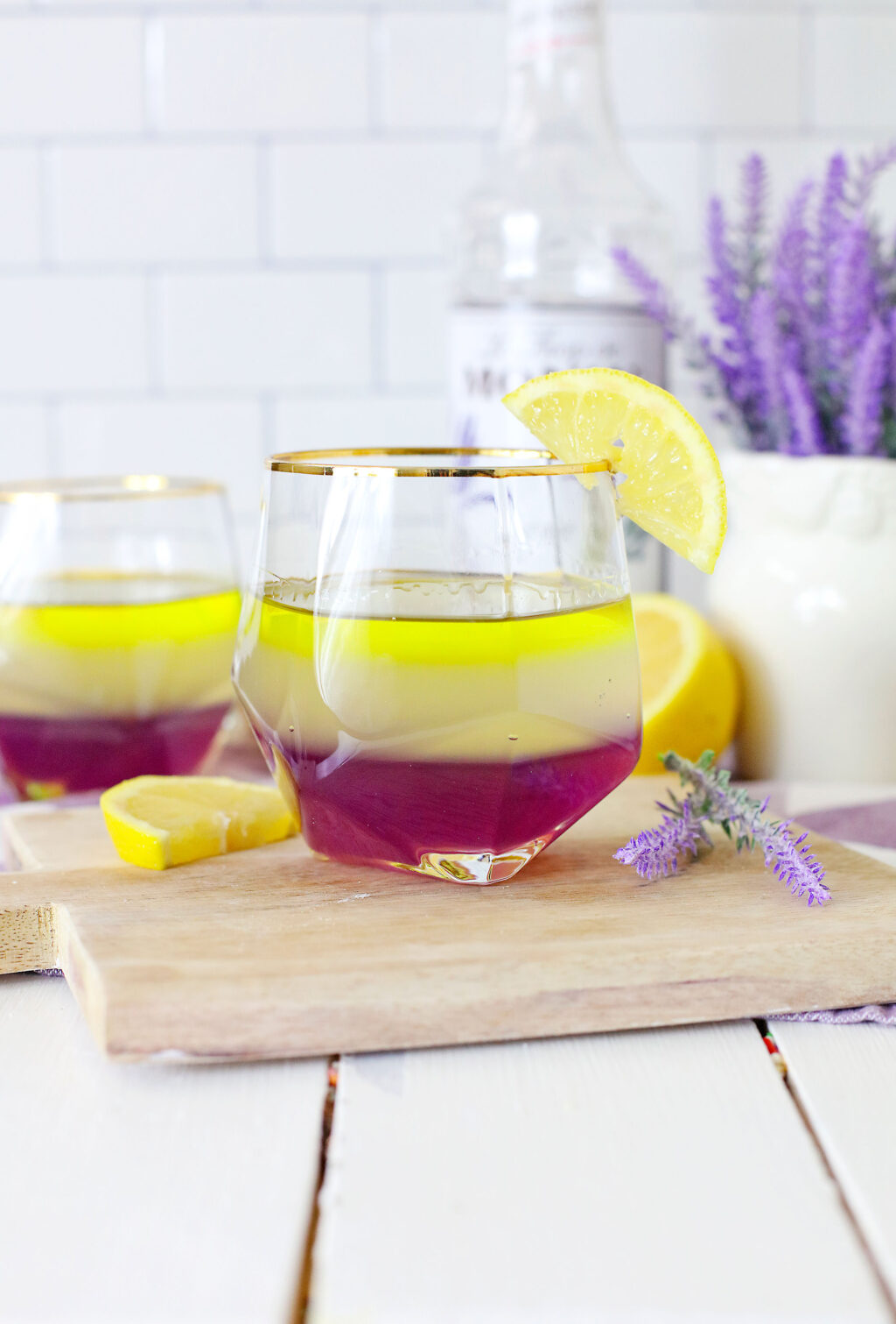 layered lavender lemon cocktail in a glass