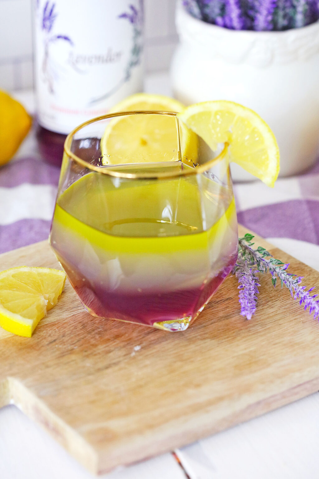 lavender lemon cocktail in a glass