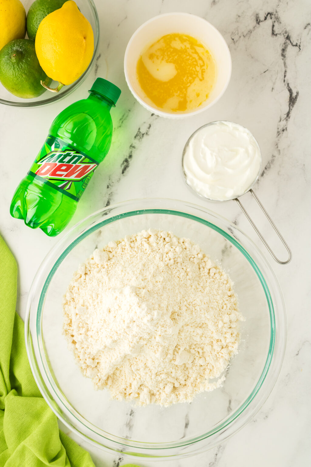 mountain dew biscuit ingredients on a table