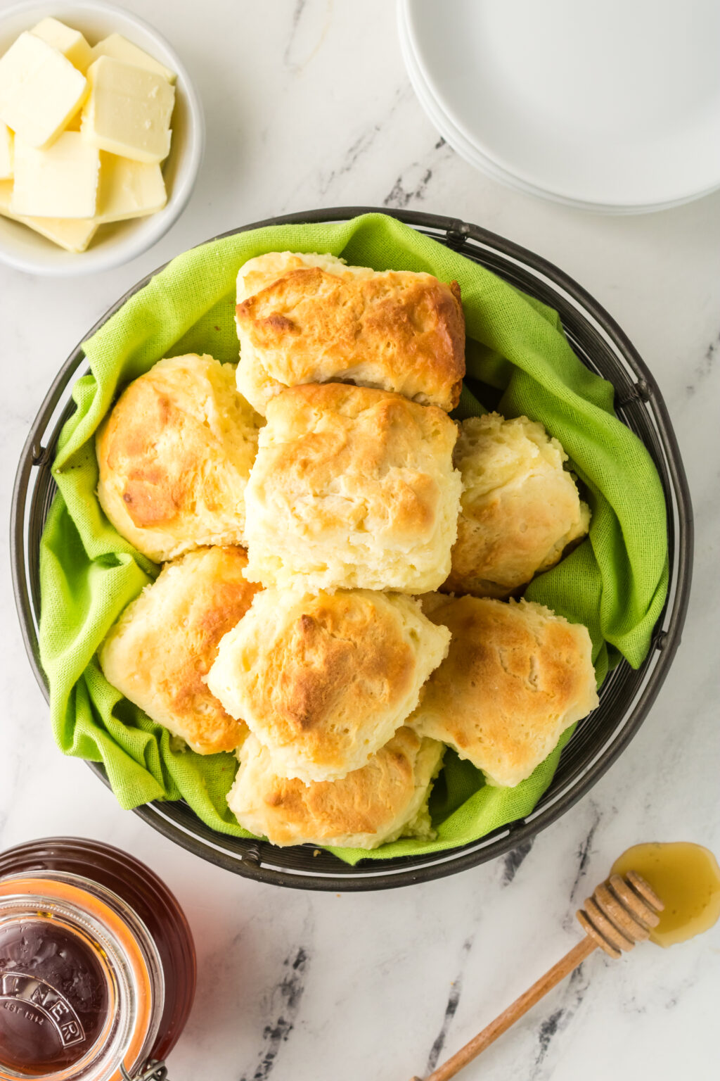 mountain dew biscuits in a bowl with a green linen