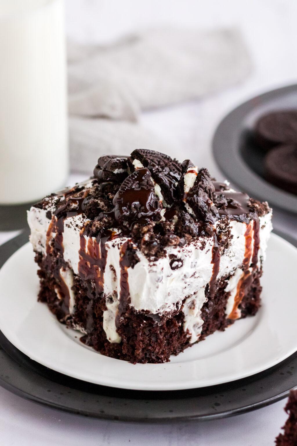 up close piece of oreo poke cake